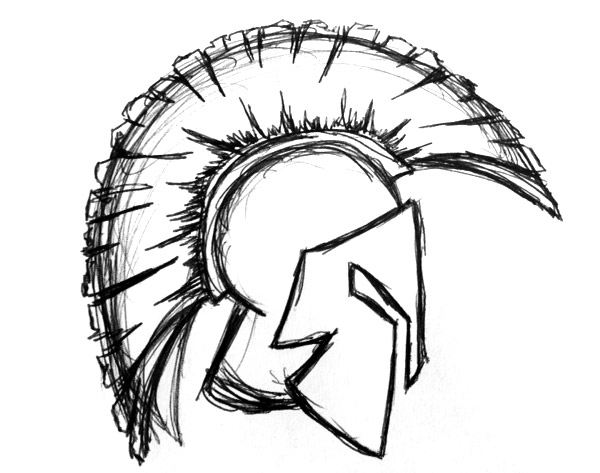 600x473 Helmet Tattoo Warrior Sketch Design