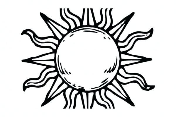 600x400 Sun To Draw Angry Sun Draw Sun Moon Outline Drawing