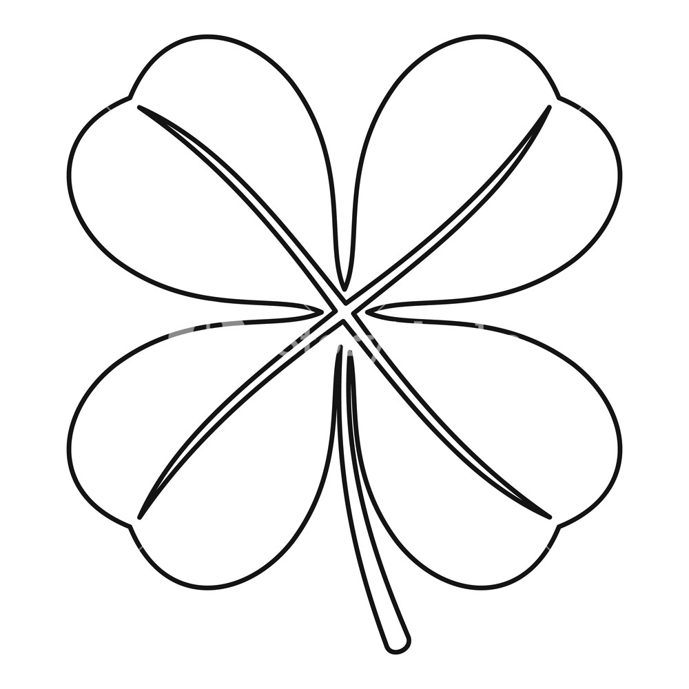 1000x1000 four leaf clover leaf icon outline illustration of four leaf