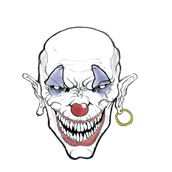 600x600 clown face drawing evil clown drawings step clown face drawing