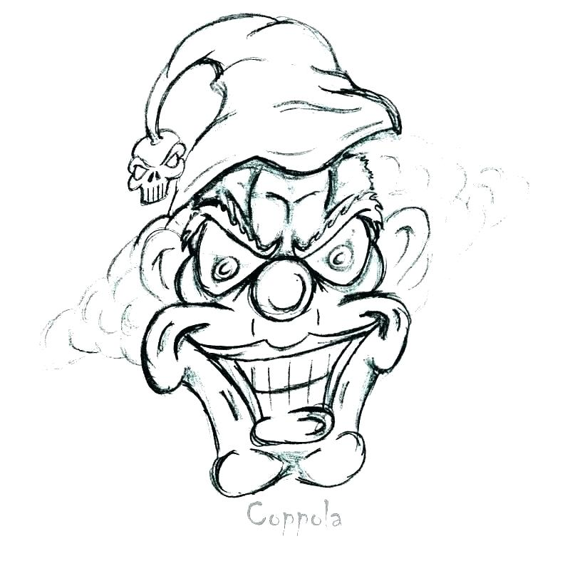 800x794 scary clown sketches evil clowns pencil drawings evil clown