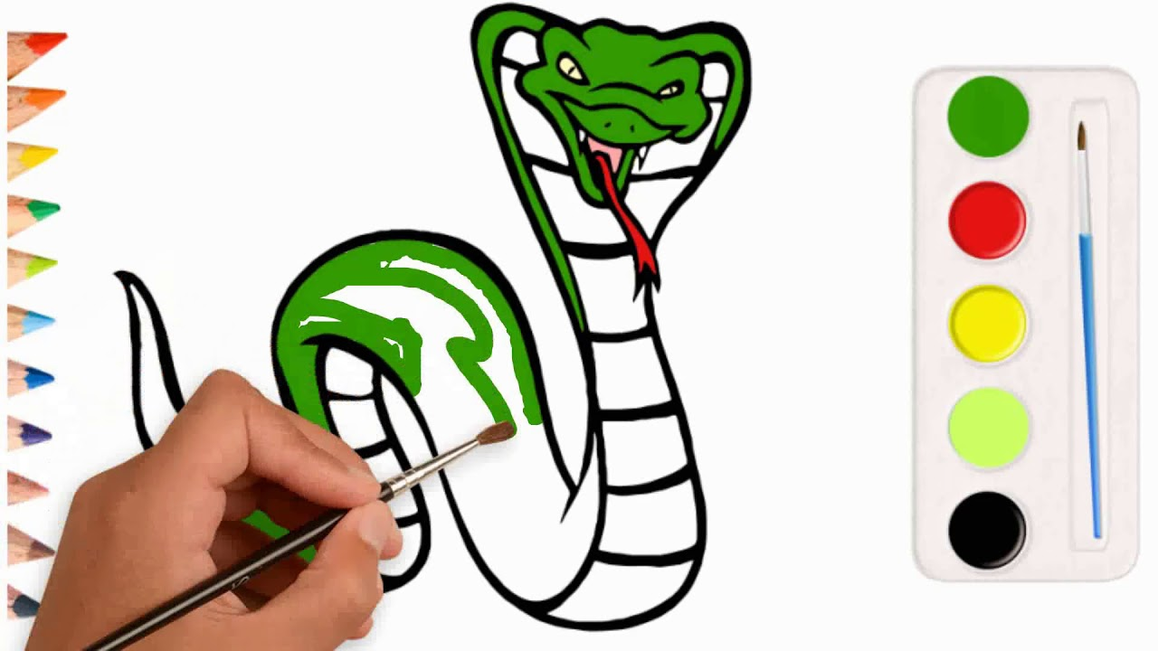 1280x720 King Cobra Coloring Pages Snake Drawing For Children How To Learn