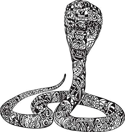 425x449 Black And White Tribal Print Cobra Snake Drawing Vinyl