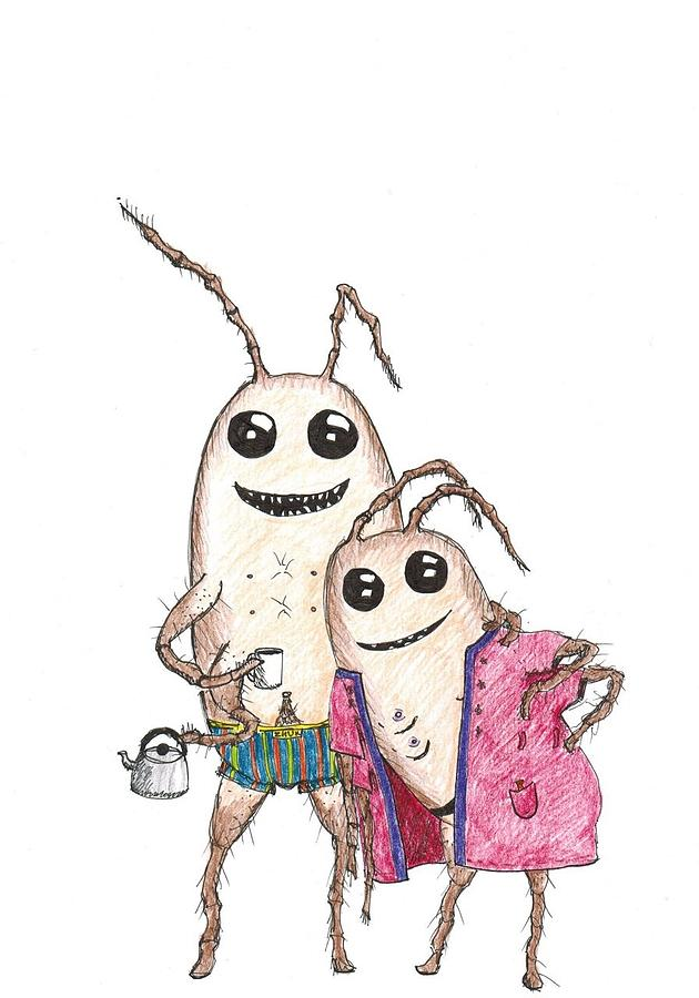 630x900 A Couple Of Cockroaches Drawing