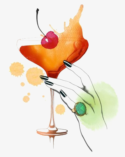 399x500 drawing cocktail, cocktail clipart, cocktail, watercolor png image