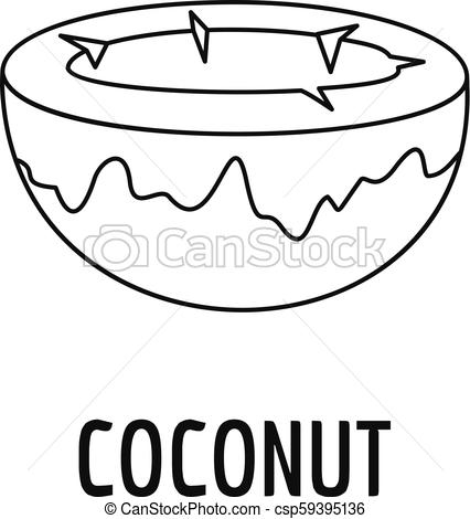 426x470 coconut icon, outline style coconut icon outline illustration