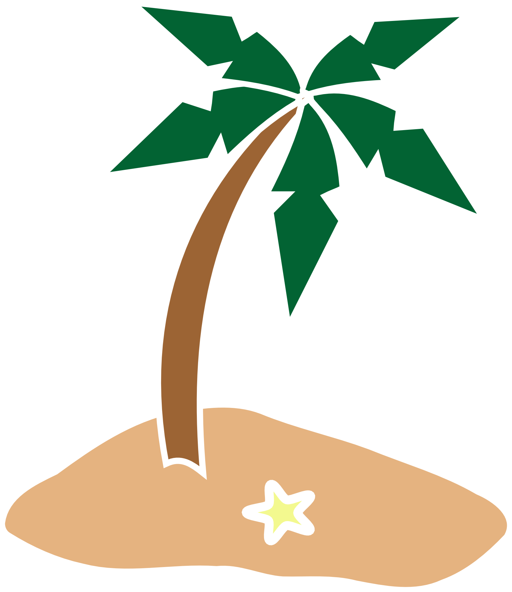 1662x1920 Drawing Of Coconut Palm Tree On Island Free Image