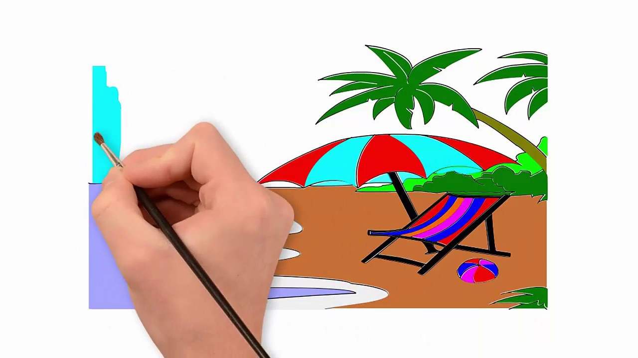 1280x720 How To Draw Beach Draw To Coconut Tree And Umbrella Drawing