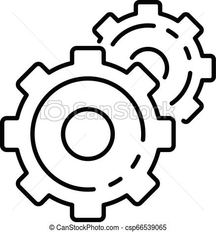 438x470 cog wheel icon, outline style cog wheel icon outline cog wheel