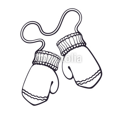 400x400 Vector Illustration Hand Drawn Doodle Of Two Christmas Mitten