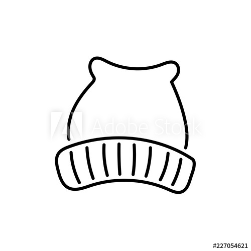 500x500 Black White Vector Illustration Of Wool Knitted Hat Line Icon