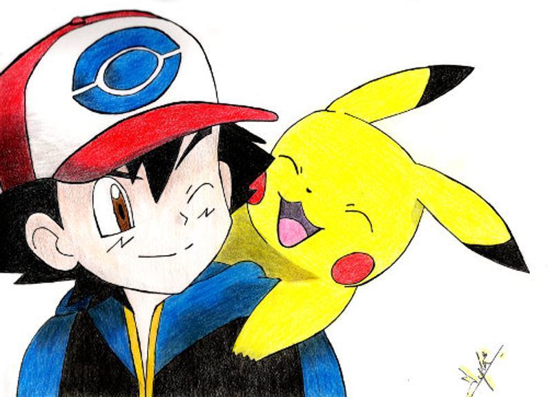 794x576 Ash And Pikachu Pokemon Pokemon Art Pikachu Art Print Etsy