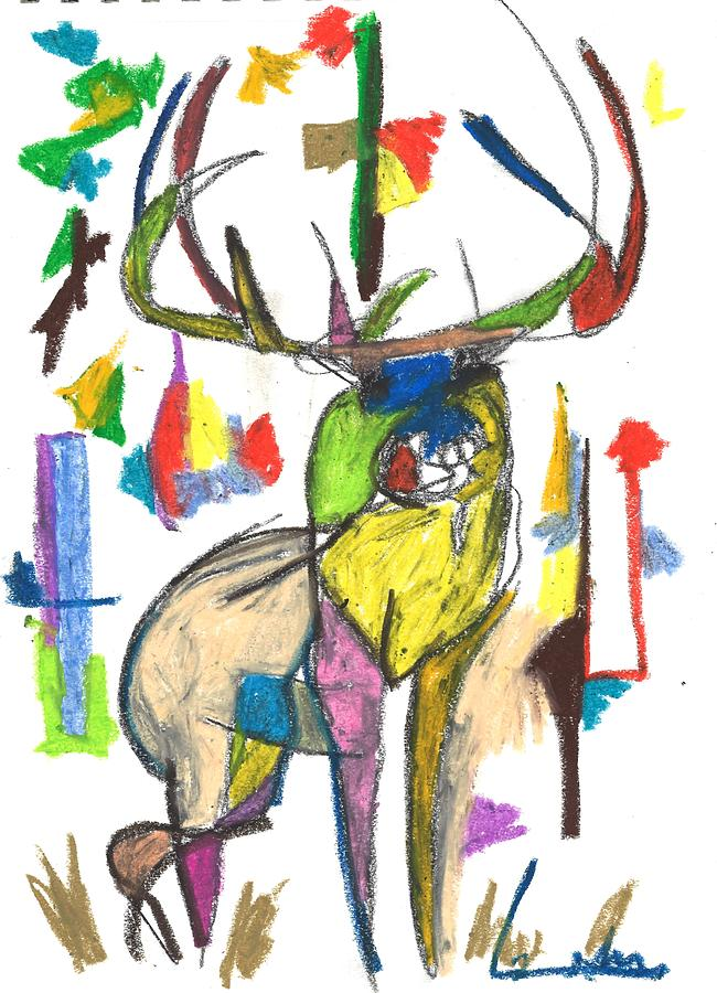 650x900 Colored Elk Drawing