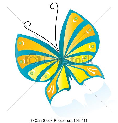 450x470 Colorful Butterfly With Reflection Vector Clip Art