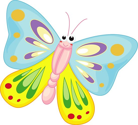 550x496 Cute Funny Cartoon Flying Colorful Butterfly Character Doodle