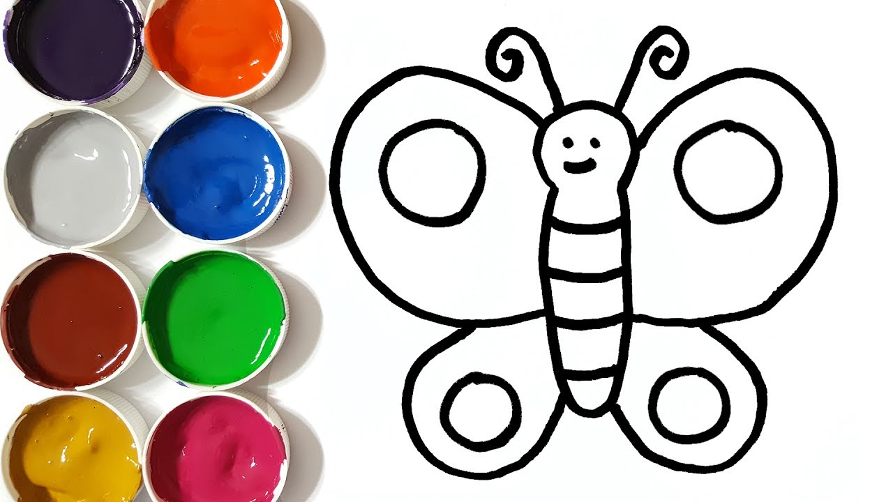 1280x720 Learn Colors With Drawing And Coloring Pages Butterfly For Kids