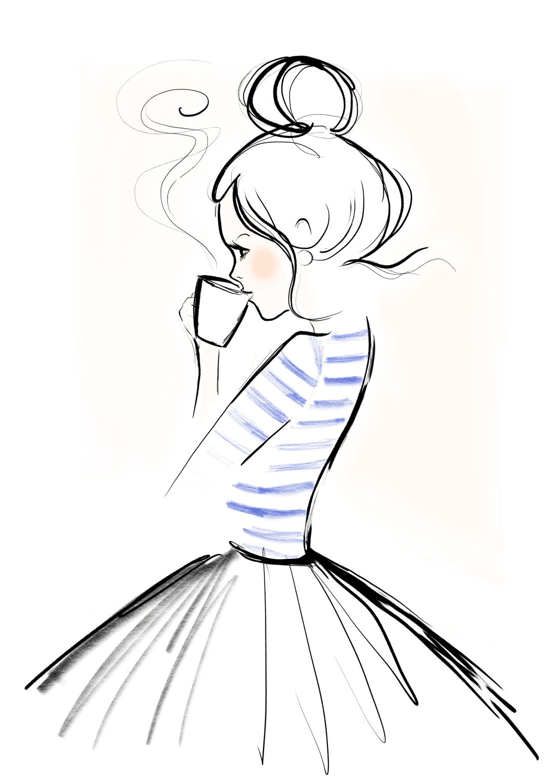 1100x1556 drinking drawing tumblr drinking coffee girl for free download