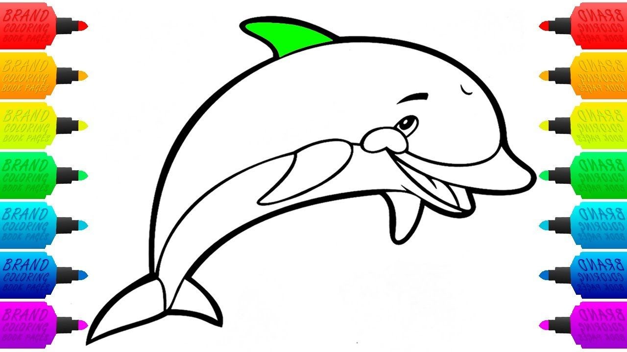 1280x720 quickly dolphin colouring pictures cute jump colour drawing hd