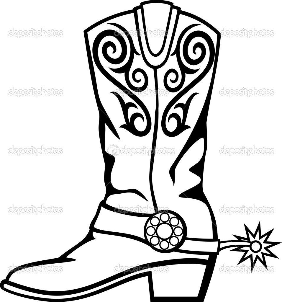 956x1023 Cowboy Boots With Spurs Clipart