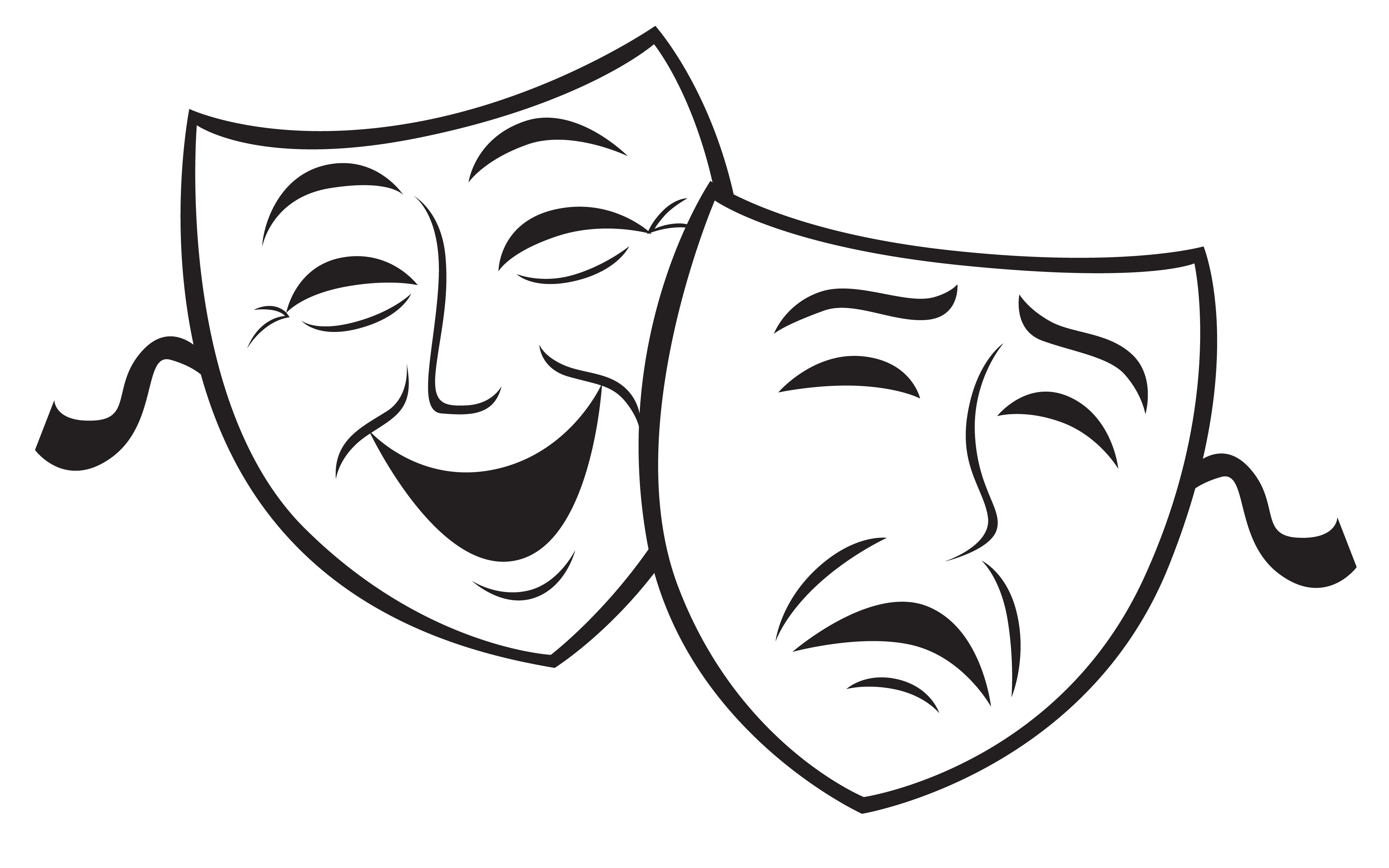 4000x2500 clip art comedy tragedy masks theatre masks drawing