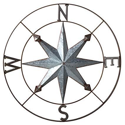 425x425 Galvanized Metal Wall Art Rose Compass