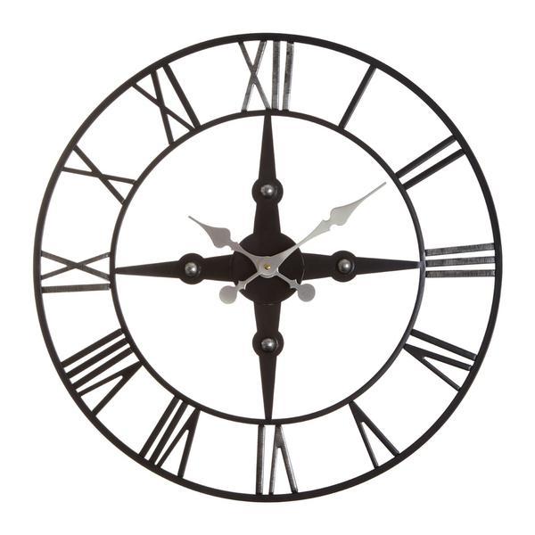 600x600 Black Metal Compass Skeleton Clock Decorexi