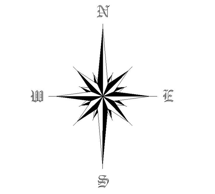 736x665 Star Compass Tattoo Design