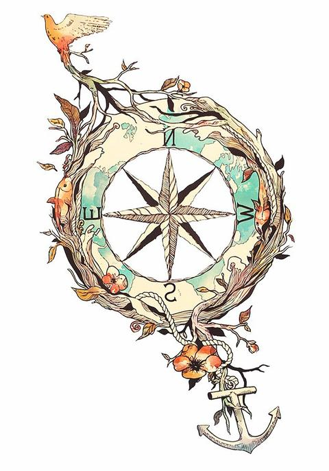 480x687 Voyageur Nature Compass Temporary Tattoo Mybodiart