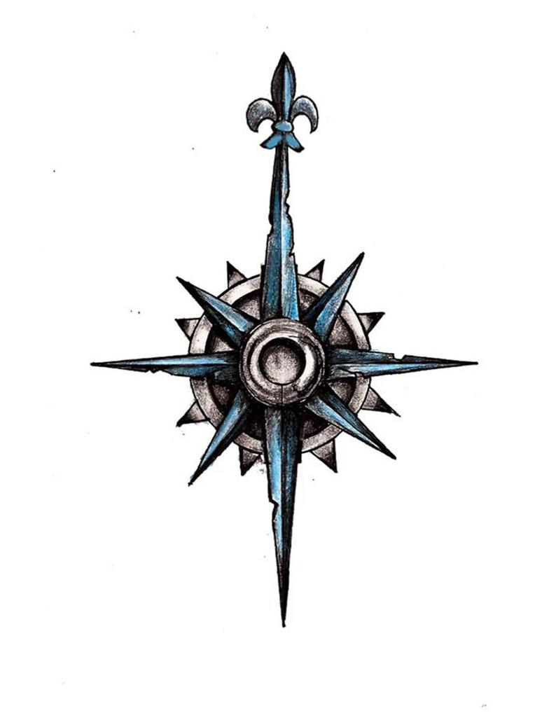 794x1028 Blue Compass Tattoo Design Etsy