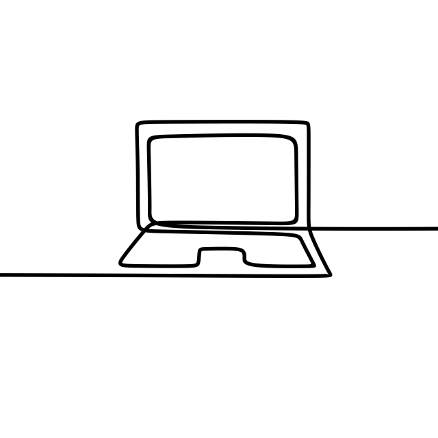 640x640 one line art of laptop drawing vector, laptop, drawing, job png