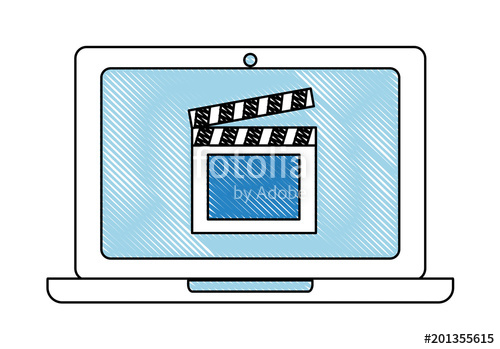 500x349 laptop film clapper board on screen film movie vector illustration