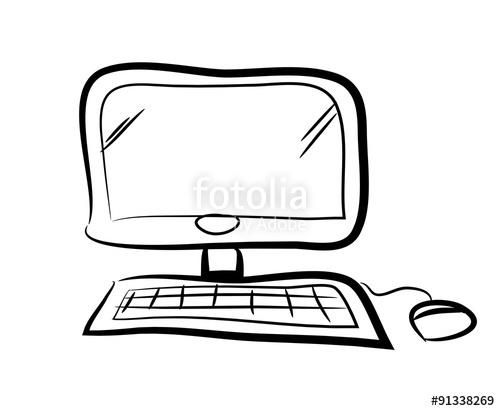 500x411 computer doodle, a hand drawn vector doodle illustration