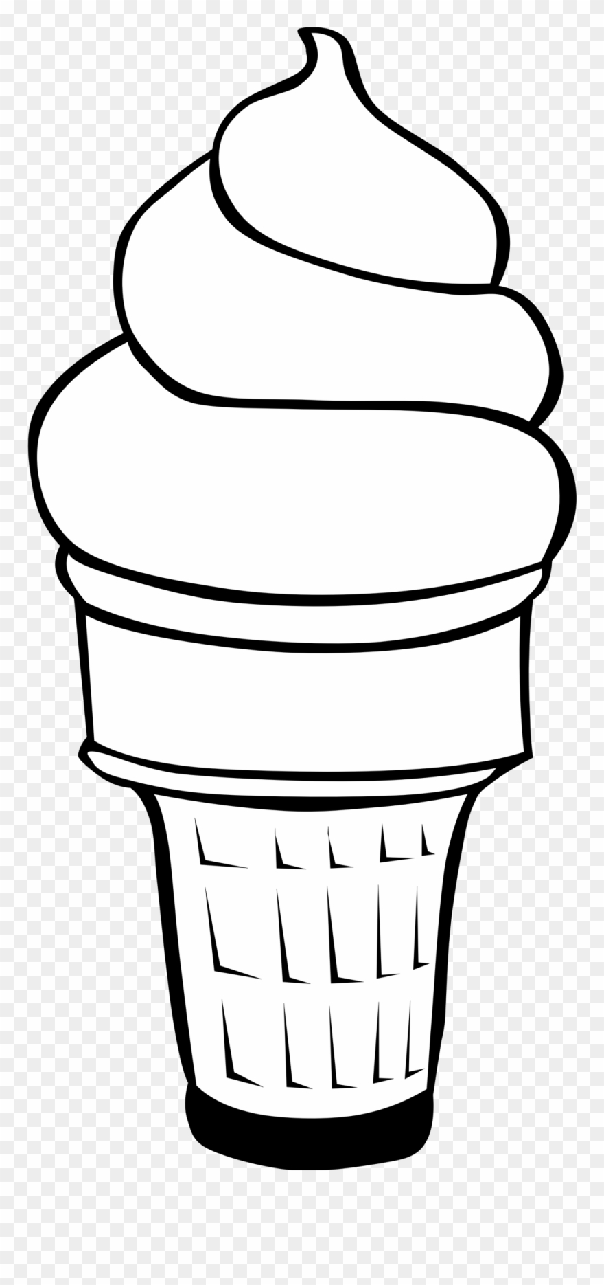 880x1870 Ice Cream Cone Line Drawing Tree Silhouette Clip