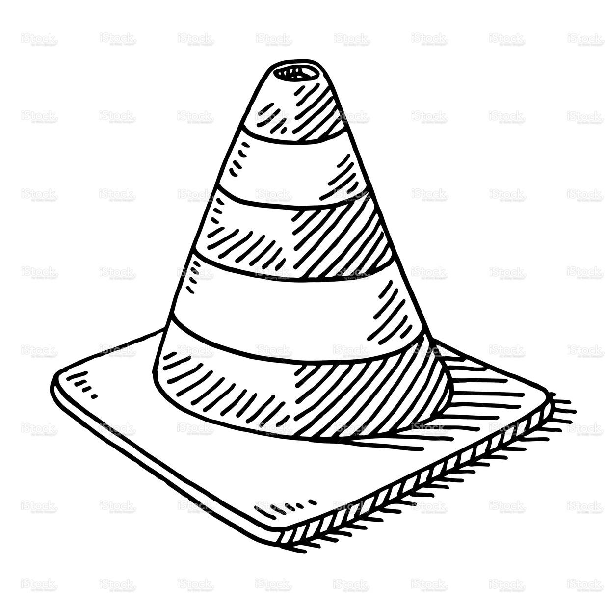 1235x1235 Stock Illustration Traffic Cone Drawing