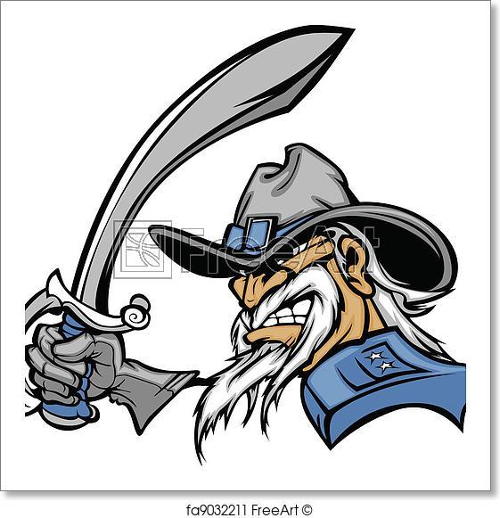 561x581 free art print of civil war general mascot with sword general