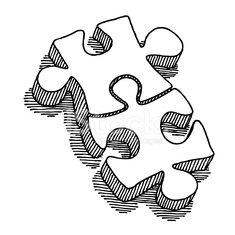 235x235 Two Puzzle Pieces Connection Drawing Stock Photos
