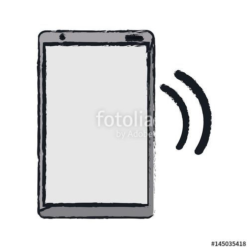 500x500 Drawing Mobile Phone Device Connection Transmission Vector