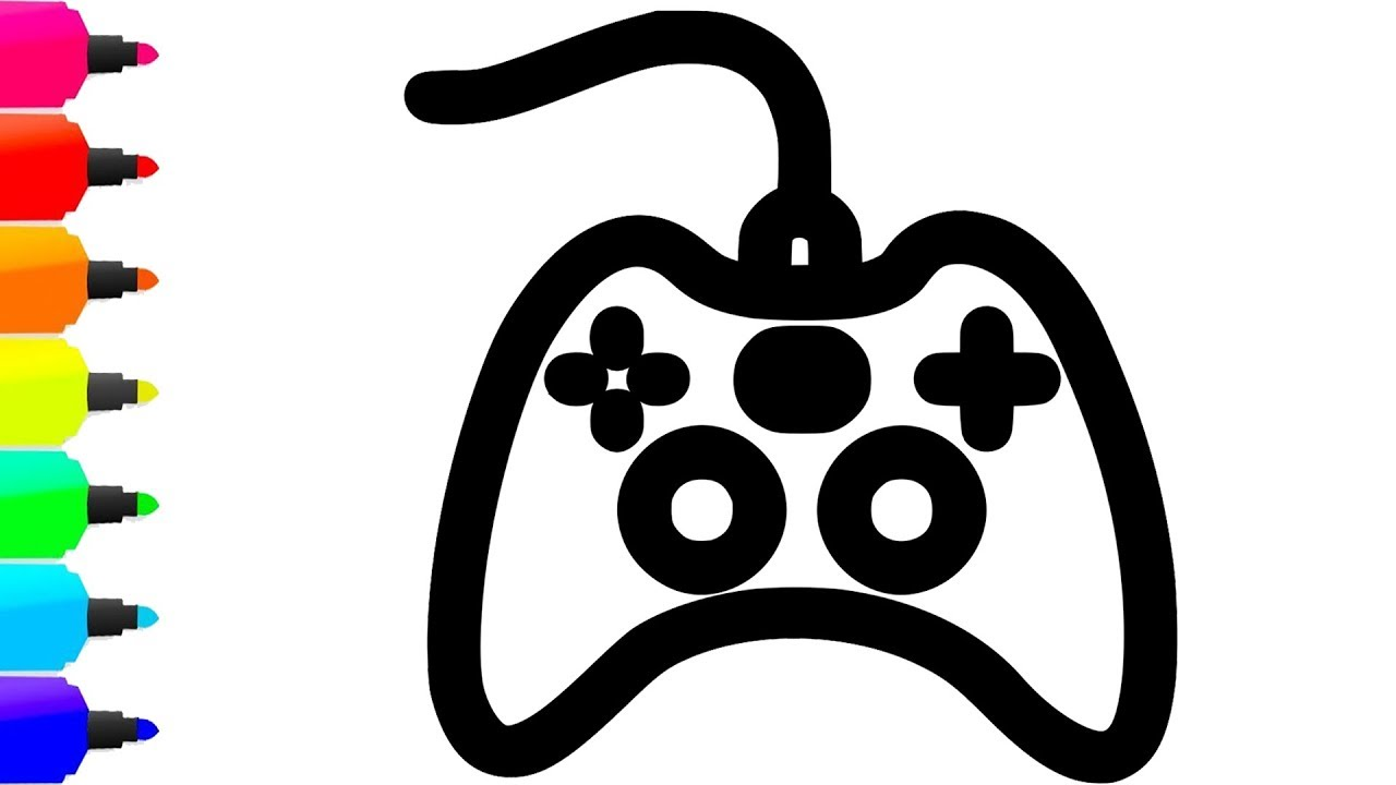 1280x720 game console coloring drawing for kids