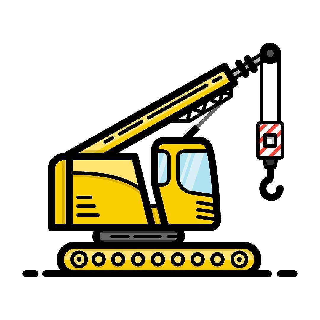 1080x1080 flat design crane drawing, crane construction
