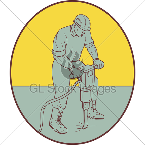 500x500 Construction Worker Operating Jackhammer Oval Drawing Gl Stock