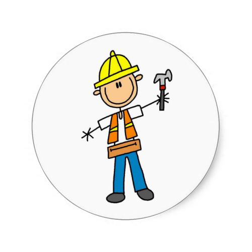 500x500 Construction Worker With Hammer Sticker Stick