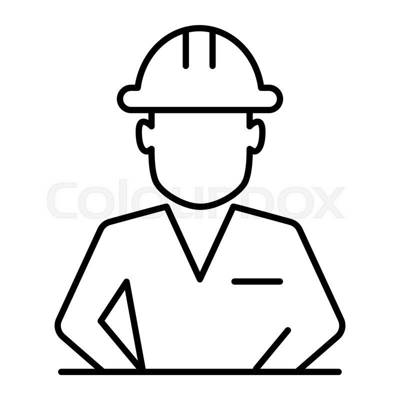 800x800 Construction Worker In Helmet Thin Stock Vector Colourbox