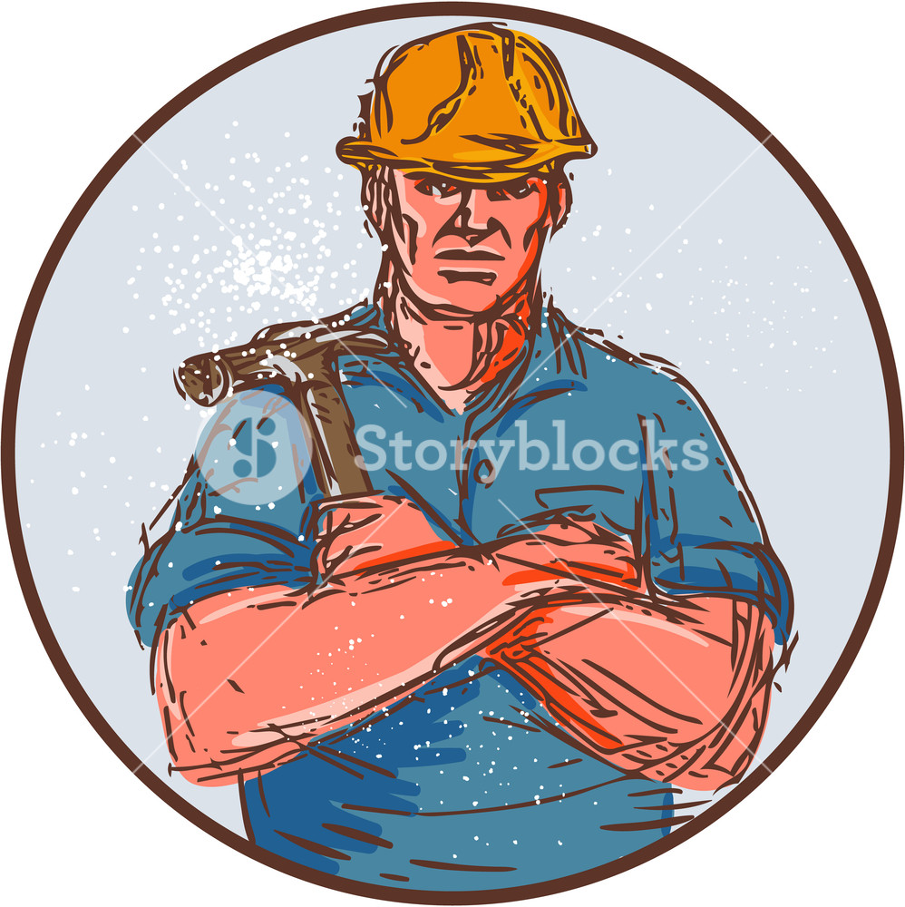 998x1000 Drawing Sketch Style Illustration Of A Builder Construction Worker