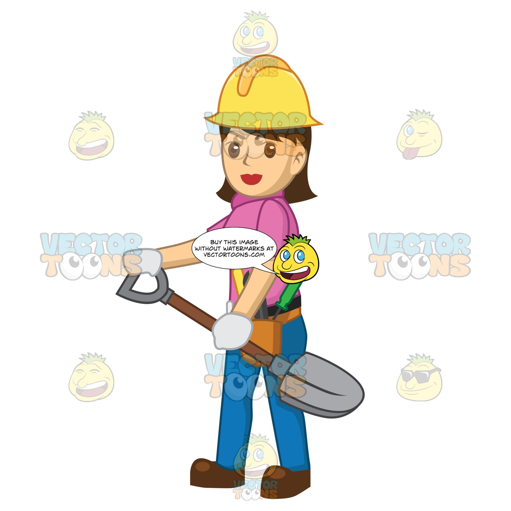2000x2000 Female Construction Worker Holding A Shovel Clipart Cartoons