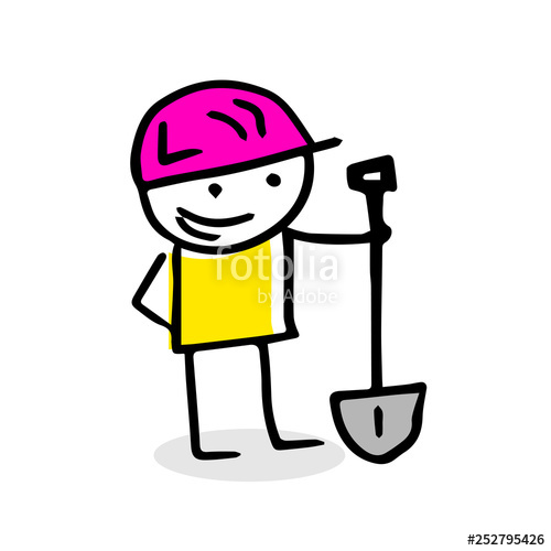 500x500 Free Hand Vector Drawing Of A Construction Worker Stock Image