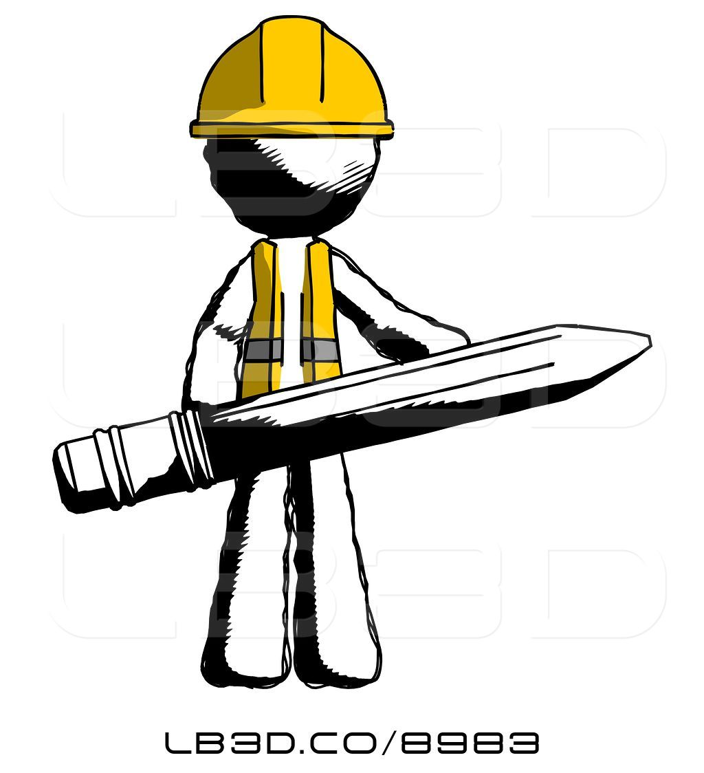 1024x1124 Illustration Of Ink Construction Worker Contractor Guy Writer