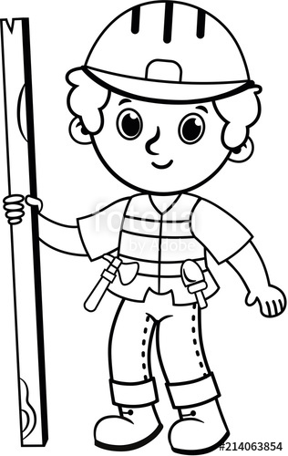 316x500 Clip Art Of Black And White Construction Worker Vector