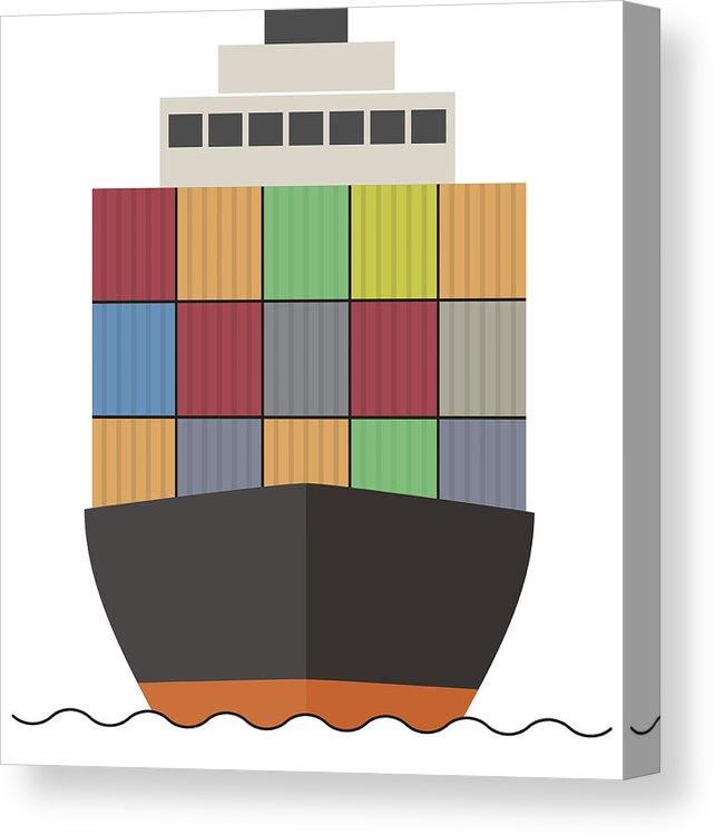 642x750 merchant container cargo ship on the sea, vector illustration