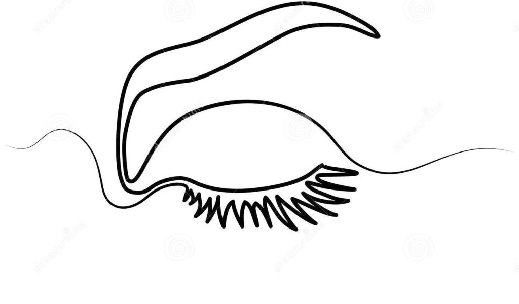 1024x600 Continuous Line Drawing Eye Woman Eye Make Up Stock Vector