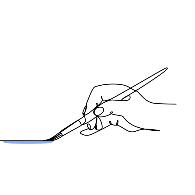 640x640 Continuous Line Drawing Of A Hand Painting A Canvas Or Paper